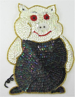 "Pig with Moonlite White Sequins and Beads 7"" x 5.5"""