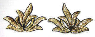 Leaf Cluster Pair Large Gold Sequins/Blk Beads