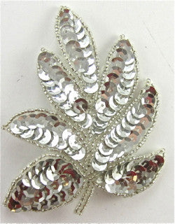 "Leaf Single Silver Sequins and Beads 4"" x 3"""