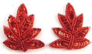 "Leaf Pair with Red Sequins and Beads 2"" x 2"""