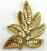 "Load image into Gallery viewer, Leaf with Gold Beads and Sequins 4"" x 3"""