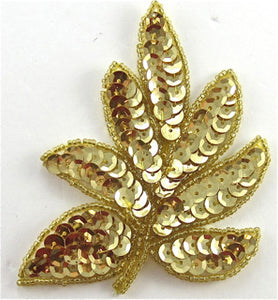 "Leaf with Gold Beads and Sequins 4"" x 3"""