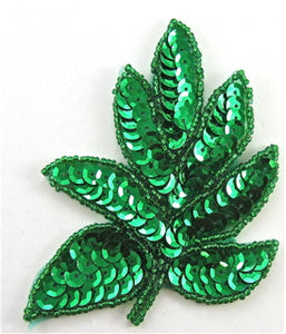 "Leaf with Green Sequins and Beads 4""x 3"""