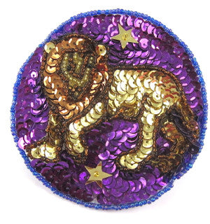 Zodiac Symbol Leo the Lion, Sequin Beaded 3.5""