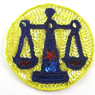 Zodiac Symbol Libra the Scales, Sequin Beaded  3.5""