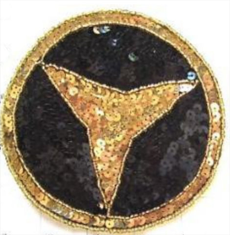 Mercedes Benz Emblem with Black and Gold Sequins and Beads 5""