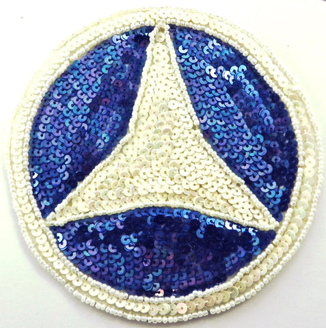 Mercedes Benz Emblem Patch with White and Blue Sequins and Beads 5""