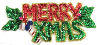 "Merry Xmas Word Red and Green Sequin Beaded 8"" x 4"""