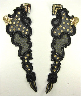 "Designer Motif Pair with Black and Gold Sequins and Beads  14"" x 4.5"""