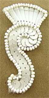 "Designer Motif with White Beads and Sequins 2.5"" x 1"""