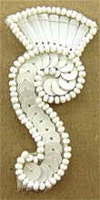 "Load image into Gallery viewer, Designer Motif with White Beads and Sequins 2.5"" x 1"""