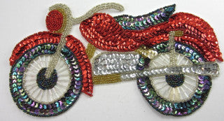 "Motorcycle Red with MultiColored Sequins 5"" x 9"""