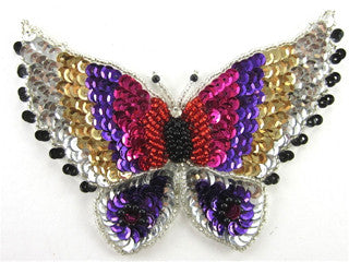 "Butterfly with Bulti-Colored Sequins and Beads 2.25"" x 3"""
