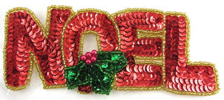 "Noel Christmas Word Sequin Beaded 2"" x 5.5"""