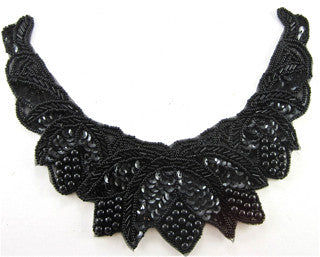 Neck Piece with Black Sequins and Beads 7.5""