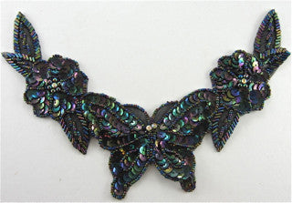 "Flower Motif Neck Piece with Moonlite Sequins and Beads  and Rhinestones Butterfly 7"" x 9"""
