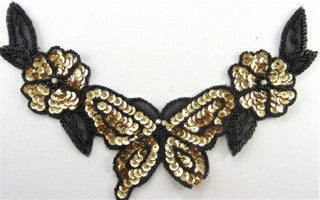 "Flower Neck Line with Black and Gold Sequins and Beads 9"" x 6"""