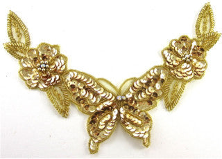 Neck Piece with Gold Sequins and Beaded Butterfly and Flower