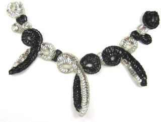 "Neckpiece Black and Silver Sequins and Beads 6"" x 9"""