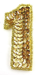"Number 1 Gold Sequins and Beads 2.25"" x 2"""