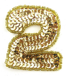 "Number 2 Gold Sequins and Beads 2.25"" x 2"""