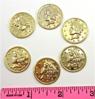 Belly Dance Coins with Hole in it  6 each  7/8""