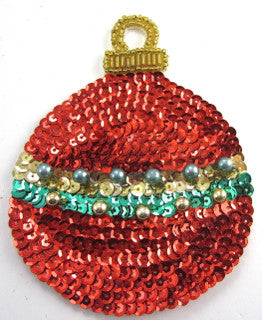 "Ornament REd/Green/Gold Sequins 4.5"" x 3.5"""