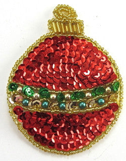 Ornament Xmas with Red Gold Sequins 2.5""