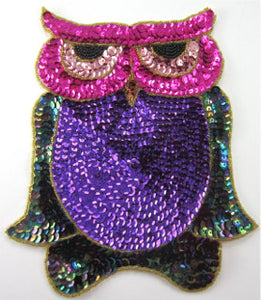 "Owl Large with MultiColored Sequins and Beads 7.5"" x 6.5"""
