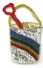 "Load image into Gallery viewer, Pail and Shovel with Rainbow Sequin and Beads 4"" x 3"""