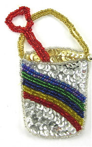 "Pail and Shovel with Rainbow Sequin and Beads 4"" x 3"""