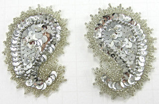 "Designer Motif Paisley Pair with Silver Sequins and Beads 3""x 2.5"""