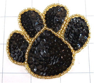 "Paw Print with Black Sequins and Gold Beaded Trim 2"" x3"""