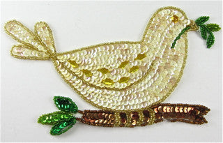 "Dove with Beige and Yellow Sequins and Beads 4.5"" x 7.5"""