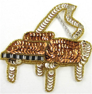"Piano with Bronze Gold Sequin and Beads 5"" x 4.5"""