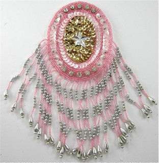 "Pink Epaulet with Silver Pink Bead and Rhinestones 8"" x 3.5"""