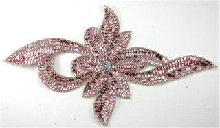 Pink Flower with Silver Beads