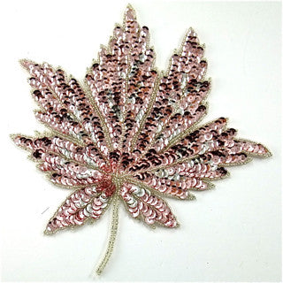 "Pink Leaf with Pink Sequins and Beads 4"" x 4"" & 8"" x 8"""