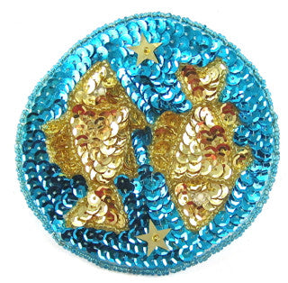 Zodiac Symbol Pisces the Fish, Sequin Beaded  3.5""