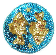 Load image into Gallery viewer, Zodiac Symbol Pisces the Fish, Sequin Beaded  3.5""
