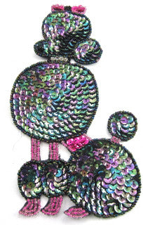 "Poodle Dog with Moonlite Sequins and  Rhinestones Collar 6.5"" x 3"""