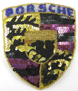 "Porsche Emblem Patch with Purple, Black and Gold Sequins and Beads 5"" x 4"""