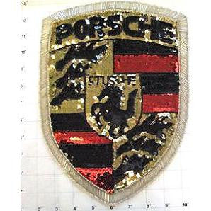 "Porsche Emblem Patch with Black, Red, Gold Sequins Silver and Black Beads  11.5"" x 9"""