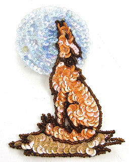 "Prairie Dog with Peach and Blue Moon Sequins 4.5"" x 3"""