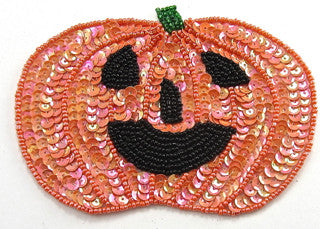 "Pumpkin Orange Sequins Black Beads 3.5"" x 5"""