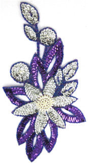 "Flower with Purple and Silver Sequins and Beads and White Pearls 12"" x 6.5"""