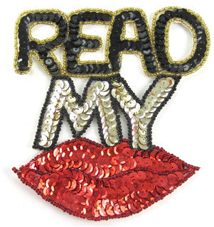 "Read My Lips Black/Gold Red Sequins 5"" x 5"""