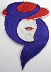 "Red Hat Lady with Purple Scarf Embroidered 5"" x 4"""