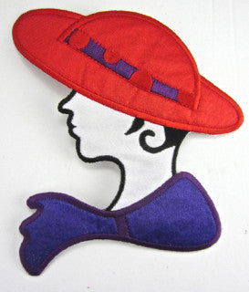 "Red Hat Lady with REd Hat Purple Scarf 5"" x 4.5"""