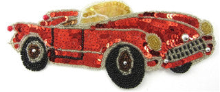 "Sports Car with Red Sequins and Silver Beads 3.5""x 7.5"""